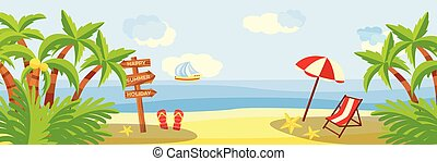 Summer beach vacation horizontal banner with lounge and umbrella on sand with palm trees near sea.