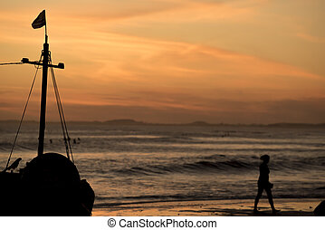 Summer beach vacation landscape at sunset