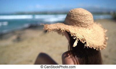 Summer beach vacation panoramic young woman with straw hat on Caribbean getaway