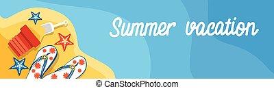 Summer Beach Vacation Set Sand Tropical Banner