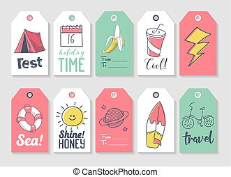 Summer Beach Vacation Tags Collection with Hand Drawn Elements Sun, Bicycle and Camp. Vector illustration