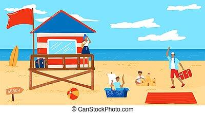 Summer beach vector illustration, cartoon flat tropical ...