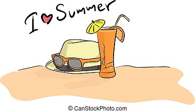 summer beach vector illustration sketch doodle hand drawn with black lines isolated on white background