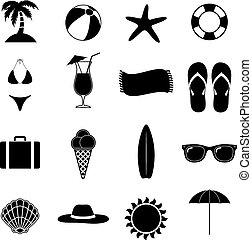 Summer Beach Vector Illustration - Summer Beach Black Vector...