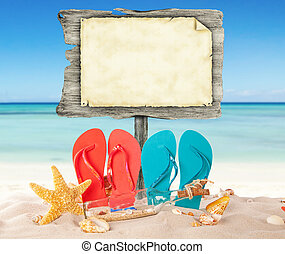 Summer beach with blank wooden poster - Summer beach with ...