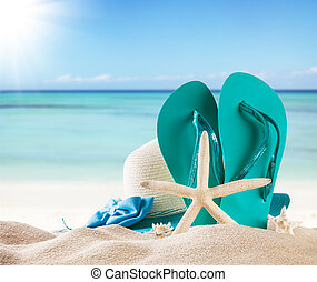 Summer beach with blue sandals and shells