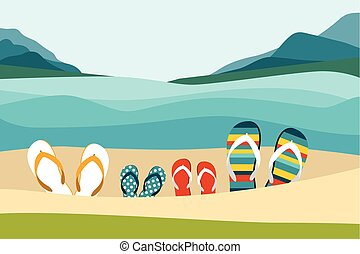 Summer beach with color flip flops. Family summer holiday. Flat design illustration.