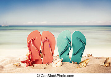 Summer beach with colored sandals and shells