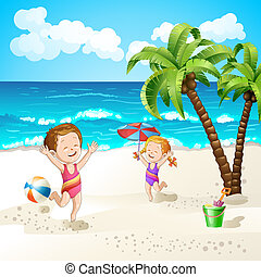 Summer beach with kids