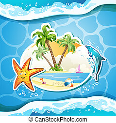 Summer beach with palm trees, starfish and sea waves