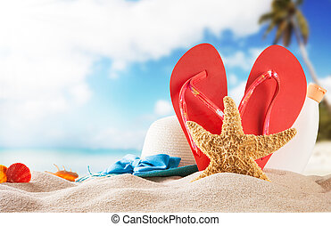 Summer beach with red sandals and shells - Summer concept ...