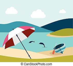 Summer beach with red umbrella. Flat design.
