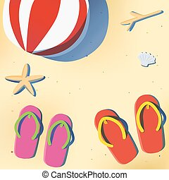 Summer beach with sandal and beach ball - Summer beach with...