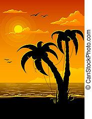 summer beach with sea sun and palm tree