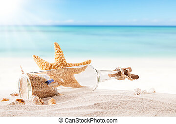 Summer beach with strafish and shells