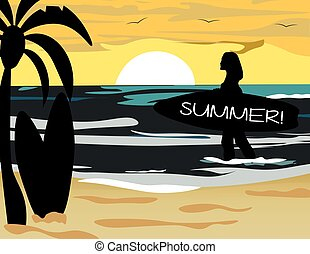 Summer Beach with surfer silhouette