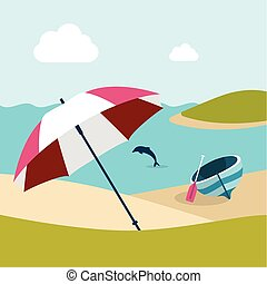 Summer beach with  umbrella. Flat design.