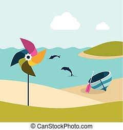 Summer beach with yellow umbrella. Flat design.