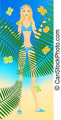 Summer - Beautiful blonde girl among bright butterflies and...