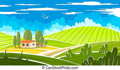 Summer beautiful landscape with farmhouse. Vector ...