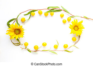 Summer beauty mockup of flowers of sunflower, cherry plum and twigs decorative willow on a white background, copy space