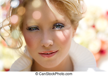 Summer season beauty visual with blond model.