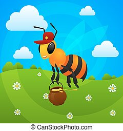 Summer bee holds jar with honey