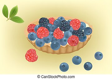 Summer berries cake vector