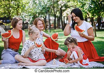 happy family at a picnic