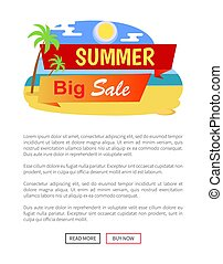 Summer Big Sale Label Poster with Tropical Beach