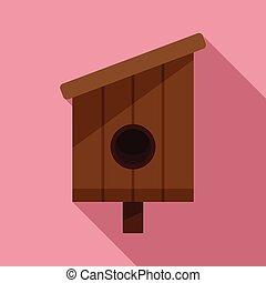 Summer bird house icon, flat style