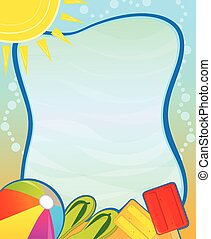 Summer Blank Sign - Colorful aquatic blank sign with beach...