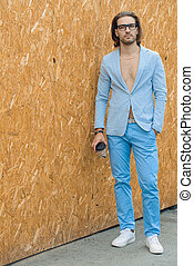 summer blue suit - Fashion shot of a stylish young man...