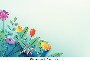 Summer border with paper cut fantasy flowers, leaves, isolated on light. Minimal 3d style floral spring background. Corner composition, copy space. Bright nature origami bouquet. Vector illustration
