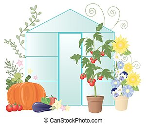 a vector illustration in eps 10 format of a summer greenhouse with flowers and home grown vegetables including tomatoes on a white background