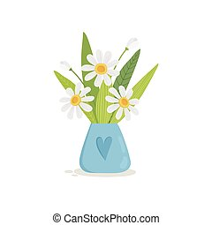 Summer bouquet of flowers in a watering can icon, cartoon style
