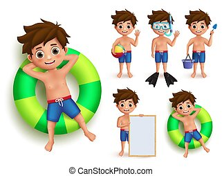 Summer boy kid vector character set. Young kids doing summer outdoor activities