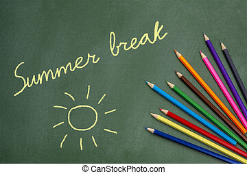summer break text and sun drawing on green chalkborad