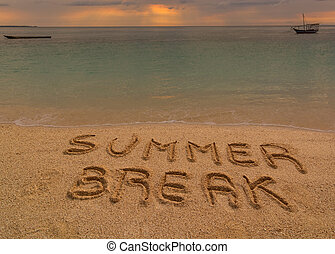 Summer break words - In the picture a beach at sunset with...