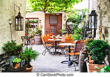 Summer cafe terrace - Cafe terrace in small European city