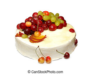 Appetizing colorful summer fruit white cream cake with sweet cherries isolated on white background with clipping path