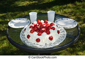 Summer cake at a table