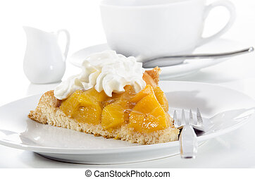 summer cake with diced peach