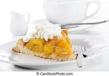 summer cake with diced peach