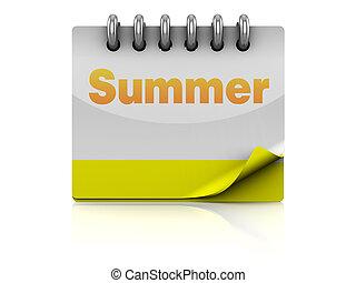 summer calendar - 3d illustration of summer calendar page