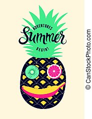 Summer calligraphic retro poster design. Funny character made of fruits. Vector illustration.