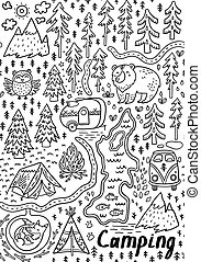 Summer camp and national park seamless pattern - Funny map...