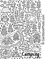 Summer camp and national park seamless pattern