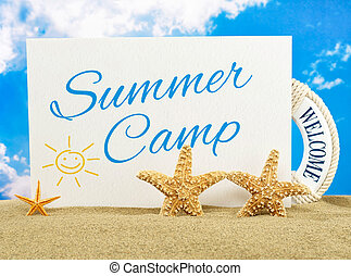 Summer camp banner on the beach