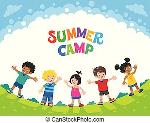 Summer camp. Children. Design template with logo